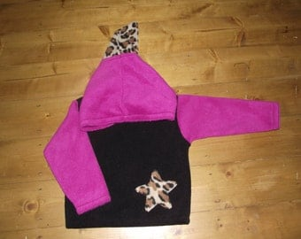 Toddler fleece Pixie hooded top in black pink and leopard 18-24