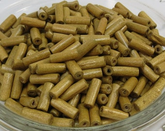 Natural Wood Beads, 15mm Light Brown Wooden Beads, 100 Hand-Cut Tube Wood Beads, Item 359wb