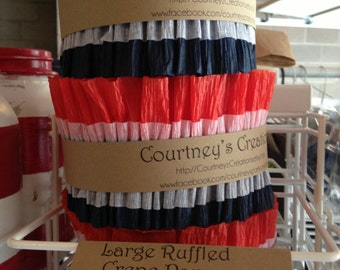 Ruffled Crepe Paper Streamers - red white and blue - patriotic