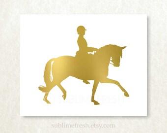GENUINE FOIL Dressage Art Print Trendy Modern Horse Wall Decor