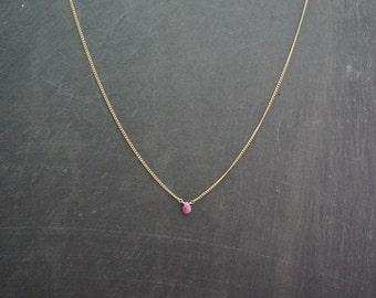 scarlet - tiny ruby drop necklace
