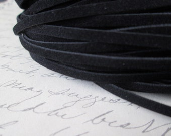 Black Cord, Black Wool 30 Feet,  Black Wool Cord 3 x 1mm,   Great for Bracelet/Necklace