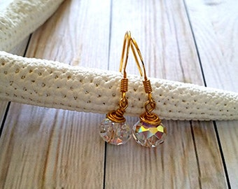 Wire Wrapped Dangle Earrings of Swarovski Crystal AB