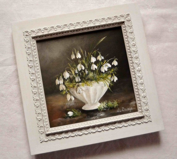 Tableau fleurs perce neige cadre shabby chic peinture for Peinture shabby chic