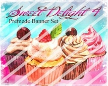 "Banner Set - Shop banner set - Premade Banner Set - Graphic Banners - Facebook Cover - Avatars - Bisiness Card - ""Sweet Delights 4"""