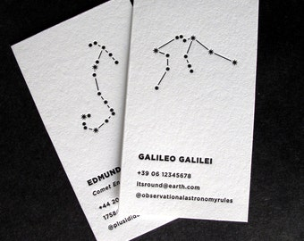 100 Custom Letterpress Calling Cards - The Star Gazer