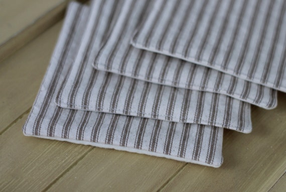 Taupe stripe fabric coaster set, french ticking stripe coaster, housewarming gift, cloth coasters, taupe striped mug rug
