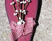 Primitive Craft Red Heart white berries and red checkered ribbon