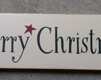 Primitive Country T1912 Merry Christmas Shelf Sitter Wooden  Sign