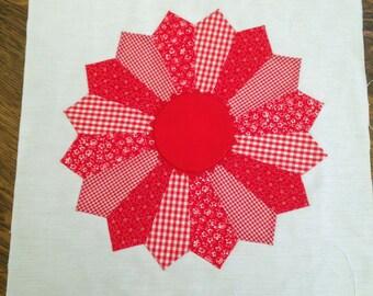 Vintage Pieced 16 inch Quilt Block - Red & White Fabrics