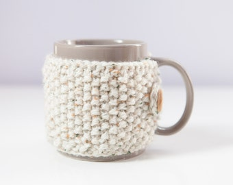 PAIR of knitted mug cosies / coffee cozy in Oatmeal
