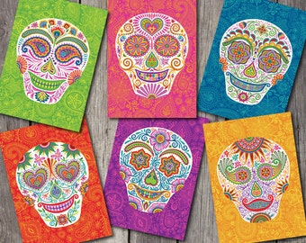 "Dia de los Muertos Sugar Skull Blank Note Cards-""Señor Skully"" Set of 6-Day of the Dead"