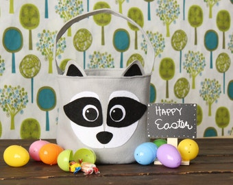 Raccoon Easter Basket Felt Woodland