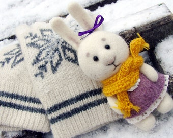 HARE Needle felted. Woollen White BUNNY. RABBIT Handmade Toy. Collectable Doll. Miniature Soft Sculpture.