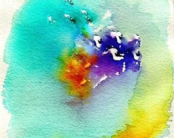 Watercolor abstract bleu turquoise art print illustration acuarela ilustracion turquesa decoración hogar