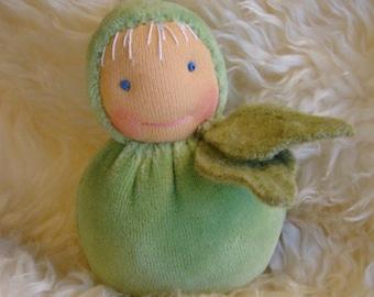 Waldorf doll, 12 cm/a, 7 inch Peas gnome