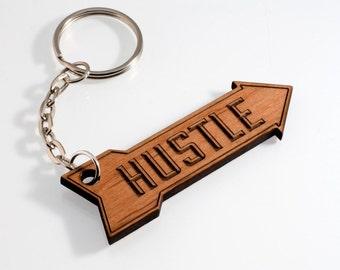 Hustle Keychain, Zipper Pull, Wooden Keychain, Motivation, One Word