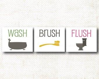 Instant Download   Set of three bathroom art prints, wash, brush, flush, art print set (OT5)