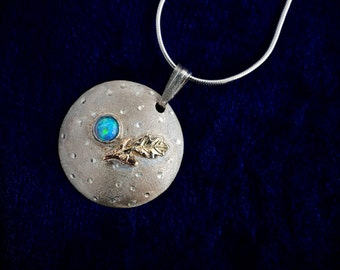 Bat Mitzvah Necklace. Bat Mitzvah Blue Opal Necklace. Bat Mitzvah Gift. Gold Olive & Leafe. Bat Mitzvah Pendant. FREE SHIPPING!