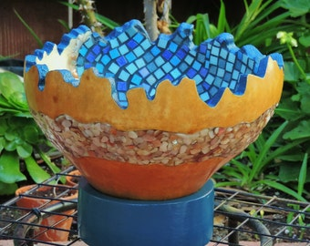 Large Natural Gourd Bowl with Mosaic Tiles & Mother of Pearl Inlay sitting on a wooden base***