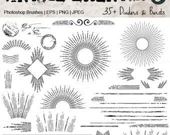 Vintage Grunge Lines and Sun Bursts.Digital Clipart Illustrations. Vector, PNG and JPEG. For Scrapbooking, Card Making, Design & Papercrafts