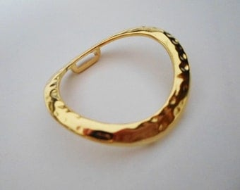 Large Hammered Gold Ring, 10mm Flat Leather Cord Finding,