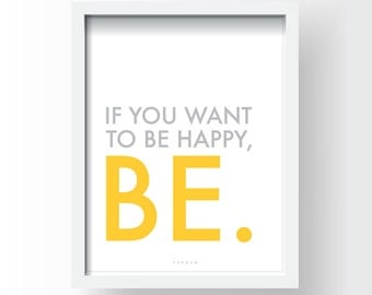 Digital Download, Inspirational Quote Print, Printable Typography Art, Instant Download PDF, JPEG, PNG - Be Happy