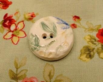156: Pale Handmade Ceramic Floral Button