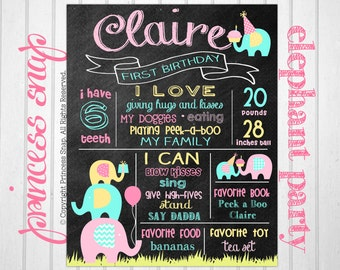 Elephant First Birthday Chalkboard Poster Sign - Elephant Party 1st Birthday Chalkboard Printable - Digital File JPG - Baby's First Birthday