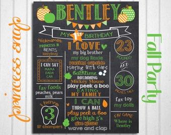 Fall First Birthday Chalkboard - Pumpkin Birthday Chalkboard - 1st Birthday Chalkboard Poster Sign