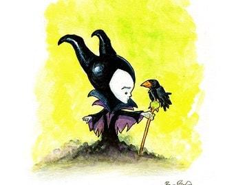 Maleficent Watercolor Print