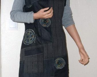 Asymmetrical dress/tunic sleeveless, grey, patchwork