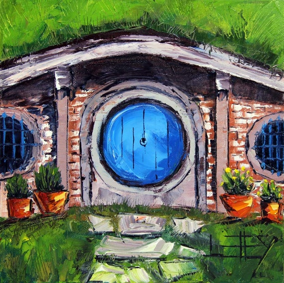 hobbit house painting lord of the rings hobbit by paletteknifeart. Black Bedroom Furniture Sets. Home Design Ideas