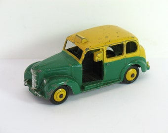 Dinky Toy Car Model Austin Taxi 254 Toy Cars Die Cast Yellow Green