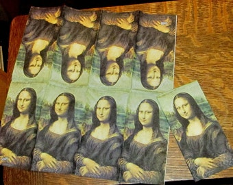 2 New German made paper hanky hankies famous Mona Lisa painting art work decoupage collage altered art craft lot scrapbooking
