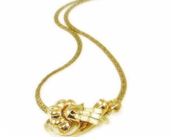 Stunning and Unique Gold Tone and Rhinestone Sliding Pendant Necklace