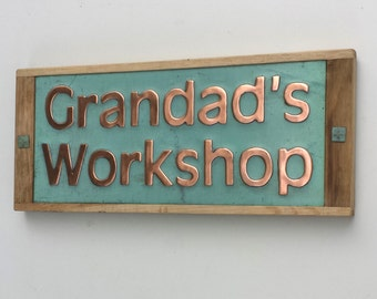 "House sign in Copper with oak frame in 2"" high letters on 1 or 2 lines in UPPER/lower case - unique on the web e"