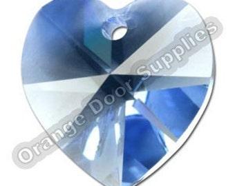 Light Sapphire Swarovski Crystal Heart Pendant 10mm- 3 Pcs