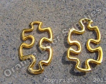 Gold Autism Awareness Puzzle Piece Charm 31mmx17mm- 50 Pcs (ASD 113)