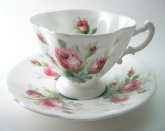Antique Hammersley Grandmother's Roses Tea Cup And Saucer,  Hammersley tea cup and saucer pink roses, English tea cup and saucer set.