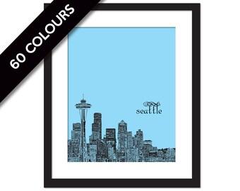 Seattle Art Print - City Poster - Seattle Print - Travel Poster - Seattle Skyline Print - Space Needle Illustration - Seattle Wall Art Decor