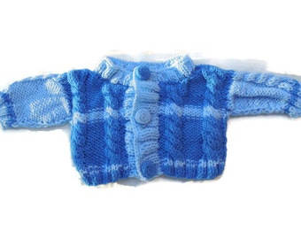 30%OFF, Blue baby knit sweater with crochet buttons, baby boy shower gift jacket