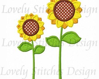 Two Sunflower Applique Machine Embroidery Design NO:0262