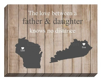 Father Daughter Rustic Canvas Gallery Wrap- father daughter gift, rustic gift for dad, gift for daughter, fathers day canvas, gallery wrap