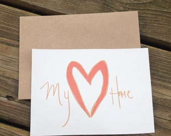 My Heart, My Home Rustic Valentines day Cards hearts-10 count