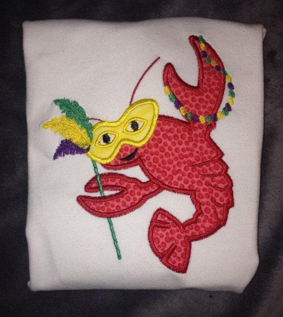 items similar to mardi gras crawfish applique shirt on etsy. Black Bedroom Furniture Sets. Home Design Ideas