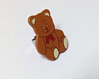 Teddy bear ring, upcycled ring