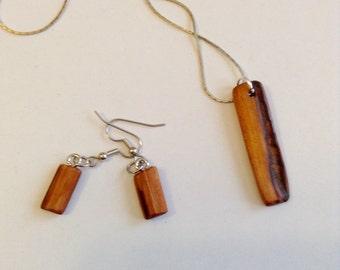 Handmade Osage Orange wood necklace and earring set