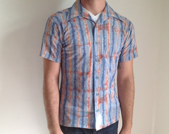Blue and Red Tie-dye Polyester Men's Shirt - Medium