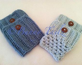 Knit Boot Cuff Handmade Crochet Boot Cuffs Blue